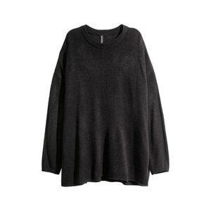 H&M Divided Black High Slit Knit Sweater